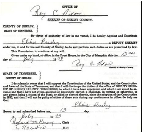 Document for Elvis being sherriff's deputy