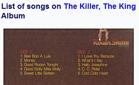 List of songs on THE KILLER, THE KING album