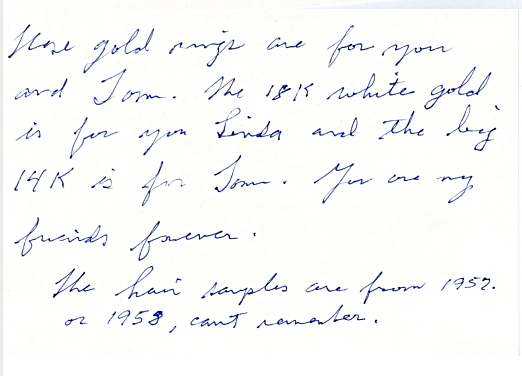 Jesse's note with hair and rings enlarged