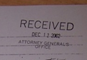 Jesse's letter to the Attorney General of MO received date stamped.