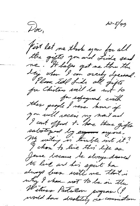 Jesse's letter about being Jesse and choosing not to enter the Witness Protection program.