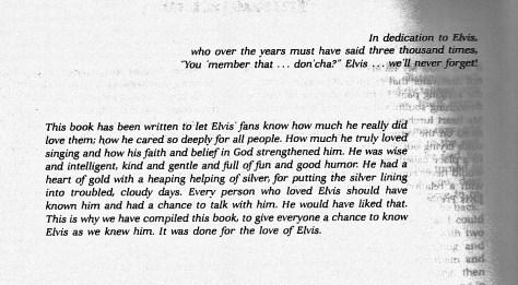 Dedication in Wanda June Hill's Book WE REMEMBER, ELVIS
