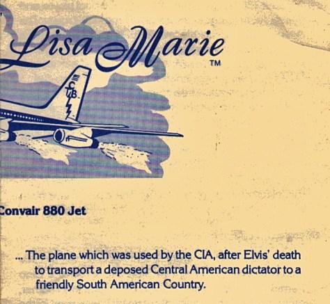 Graceland brochure regarding Lisa Marie plane enlarged section