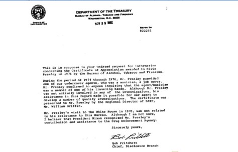 Federal letter stating that Elvis provided cover for agent
