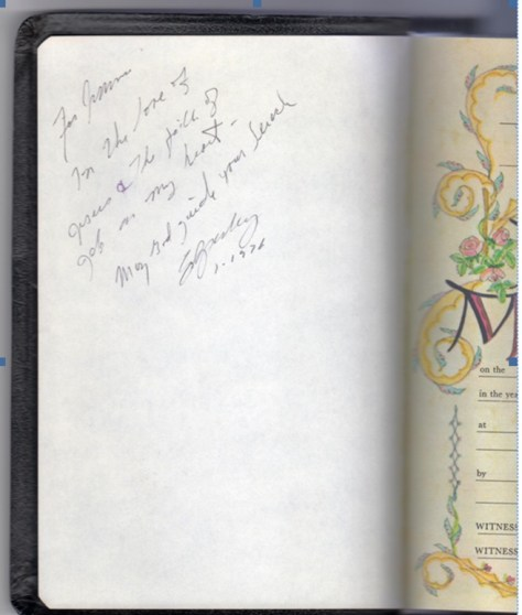 Elvis' inscription in Bible to Wanda's husband.