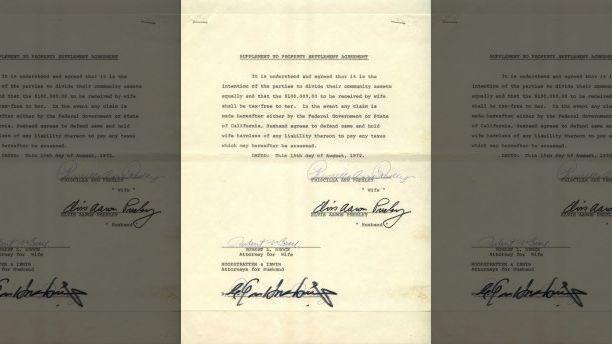 Elvis' signautre on 1973 divorce document