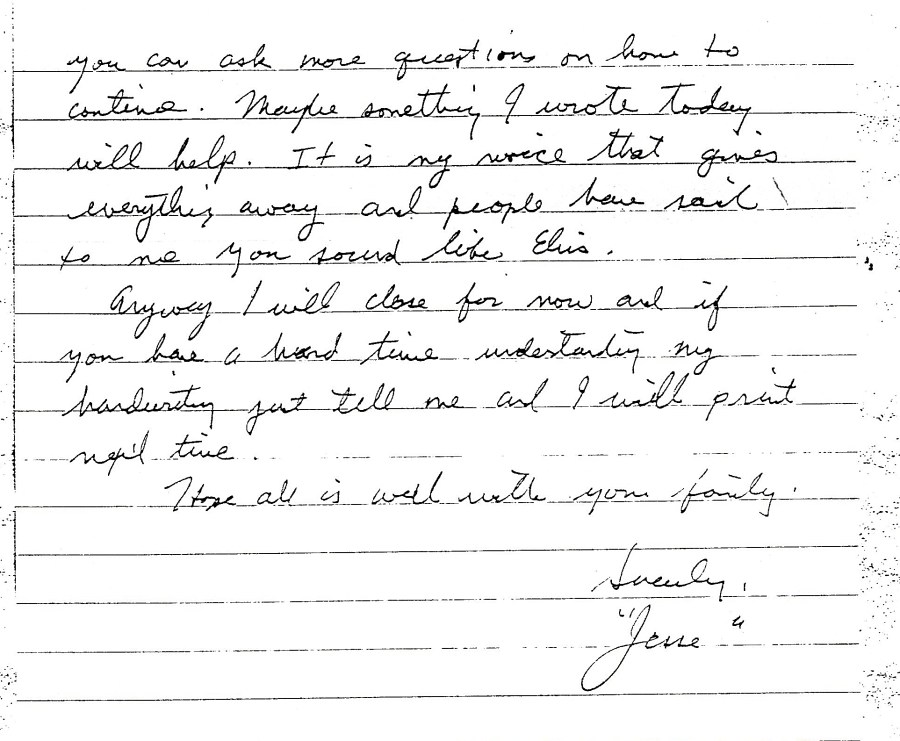 Jesse's letter offering to begin printing his letters for the book