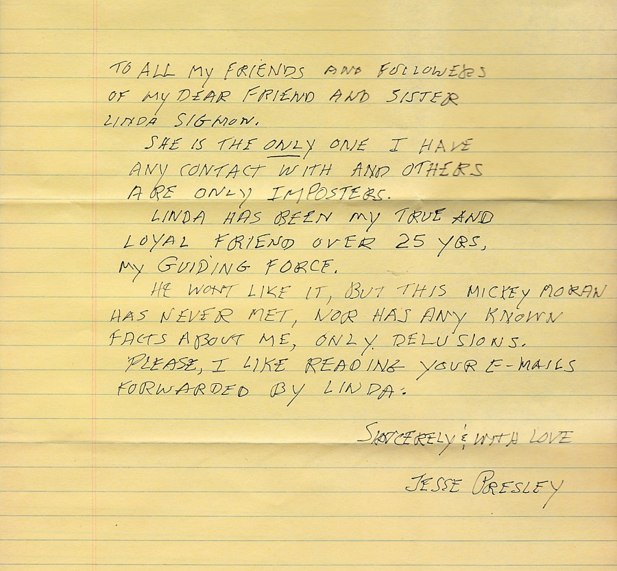 Jesse's letter for my web site August, 2016