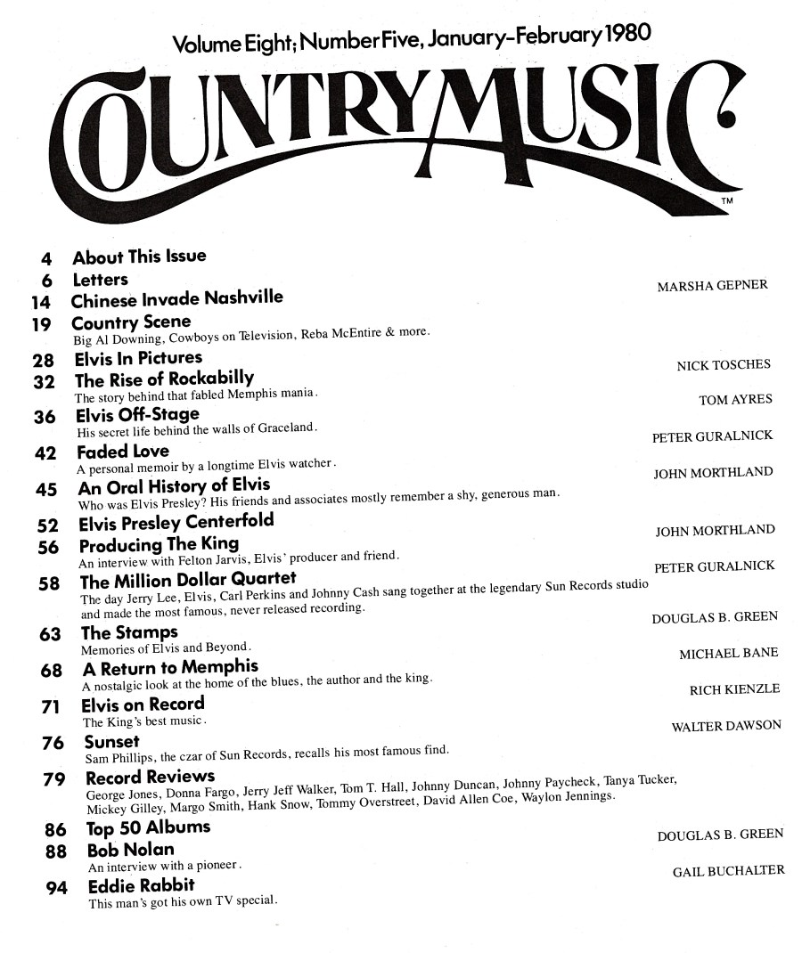 Country Music Mag. Elvis INDEX New