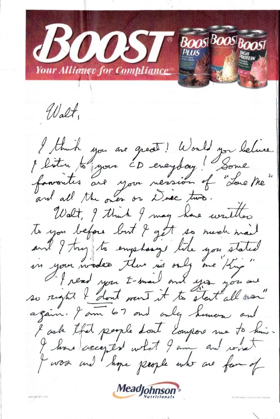 Jesse's letter to Walt page 1