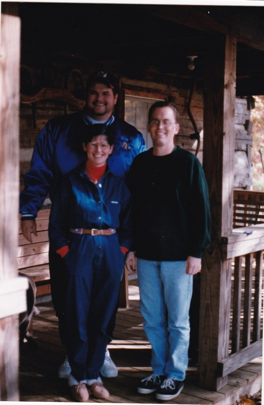 Hinton, Terry Campbell and Linda Sigmon on porch