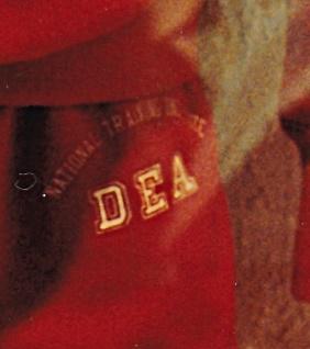 Red DEA Suit at Graceland pants logo enlarged