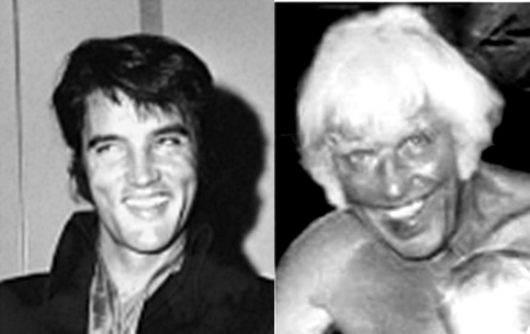 Elvis and Jesse smiles black and white