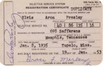 Elvis' draft registration card