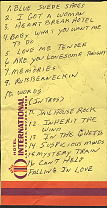 Elvis handwritten set list Las Vegas