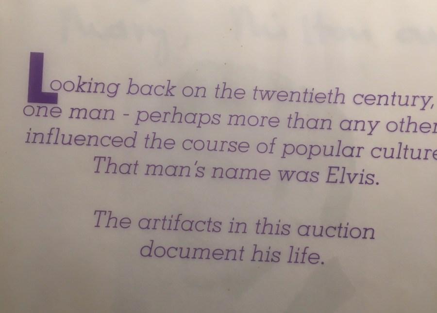 Elvis archives auction book dedication