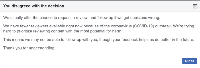 Facebook won't accept my disagreement with their decision