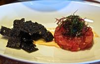 AHI TUNA TARTARE_Ginger & Cucumber_Seaweed Salad with Yuzu Vinaigrette_Crispy Nori Chips, Siracha Aioli