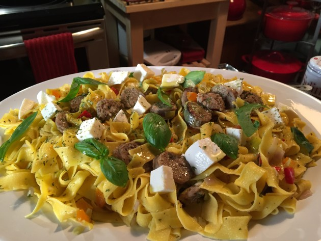 Sweet Italian Sausage, Mozzarella, And Basil Over Pappardelle (2)