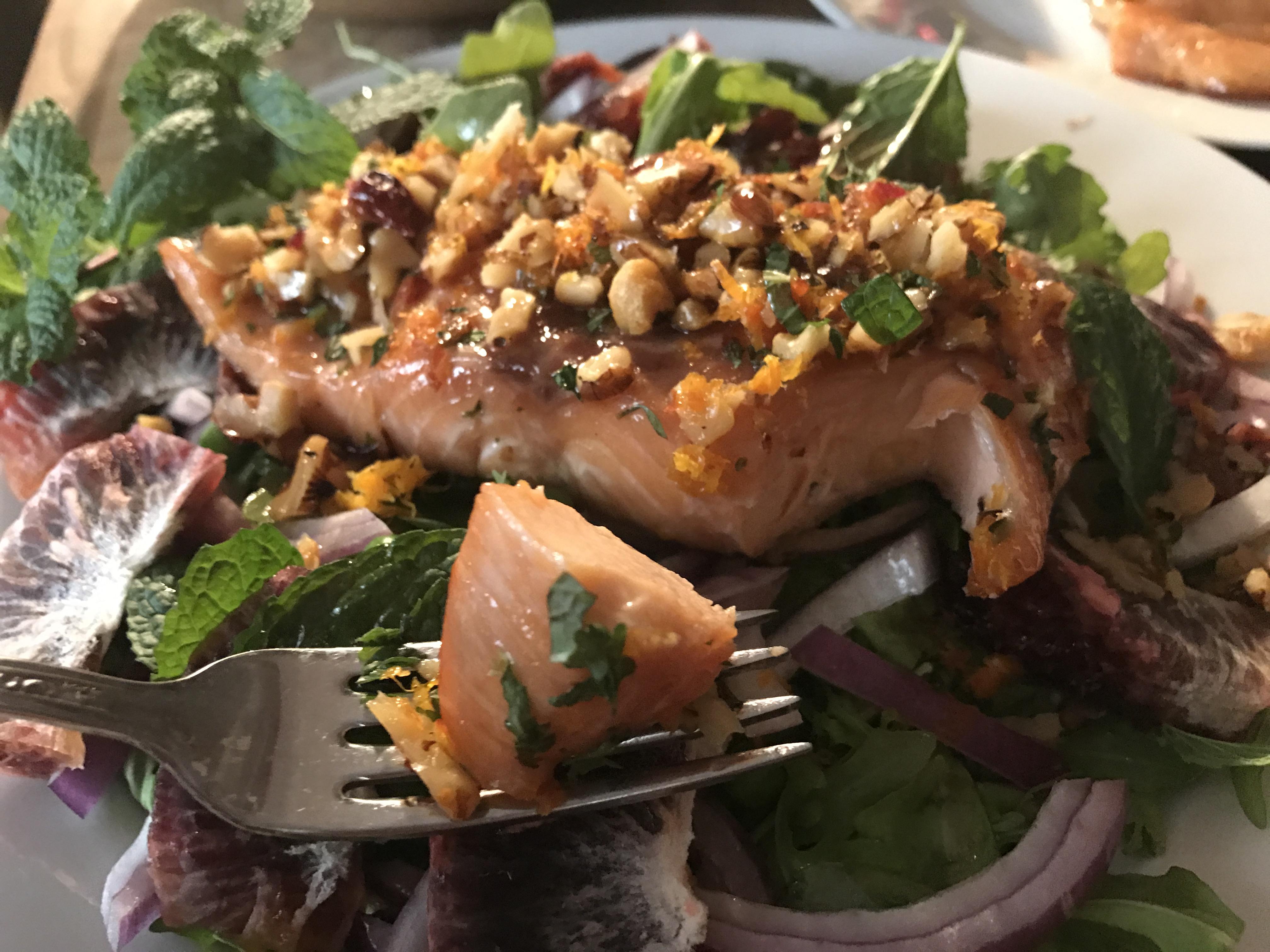 Walnut And Mint-Crusted Pan Seared Salmon (3)