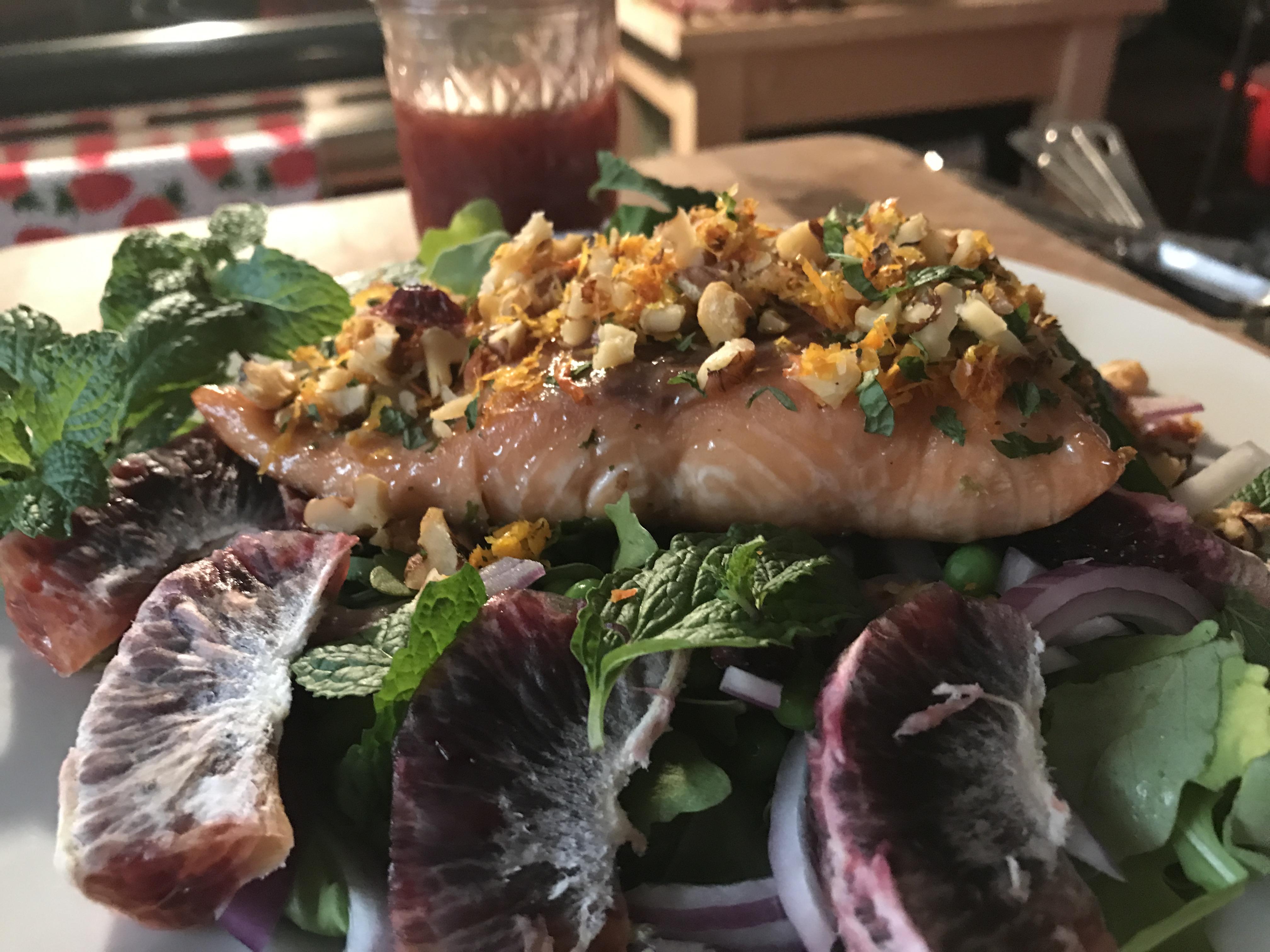Walnut And Mint-Crusted Pan Seared Salmon