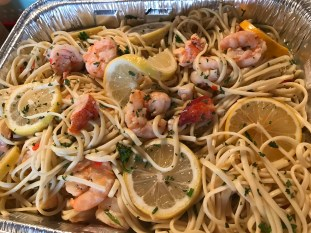 Lobster And Shrimp Scampi Over Linguine (2)
