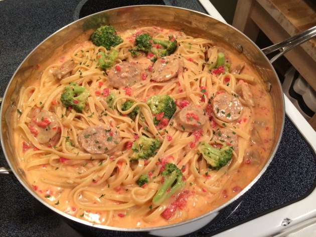 Roasted Red Pepper Fettuccine Alfredo With Italian Sausage And Broccoli