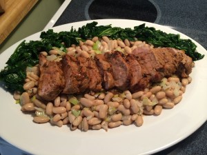 Pork Tenderloin On A Bed Of Cannellini Beans