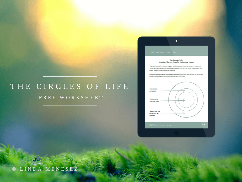 Free Worksheet To Lower Stress The Circles Of Life