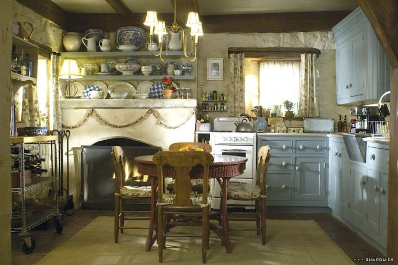 The Holiday English Cottage kitchen pale blue cabinet wicker table Cameron Diaz Kate Winslet