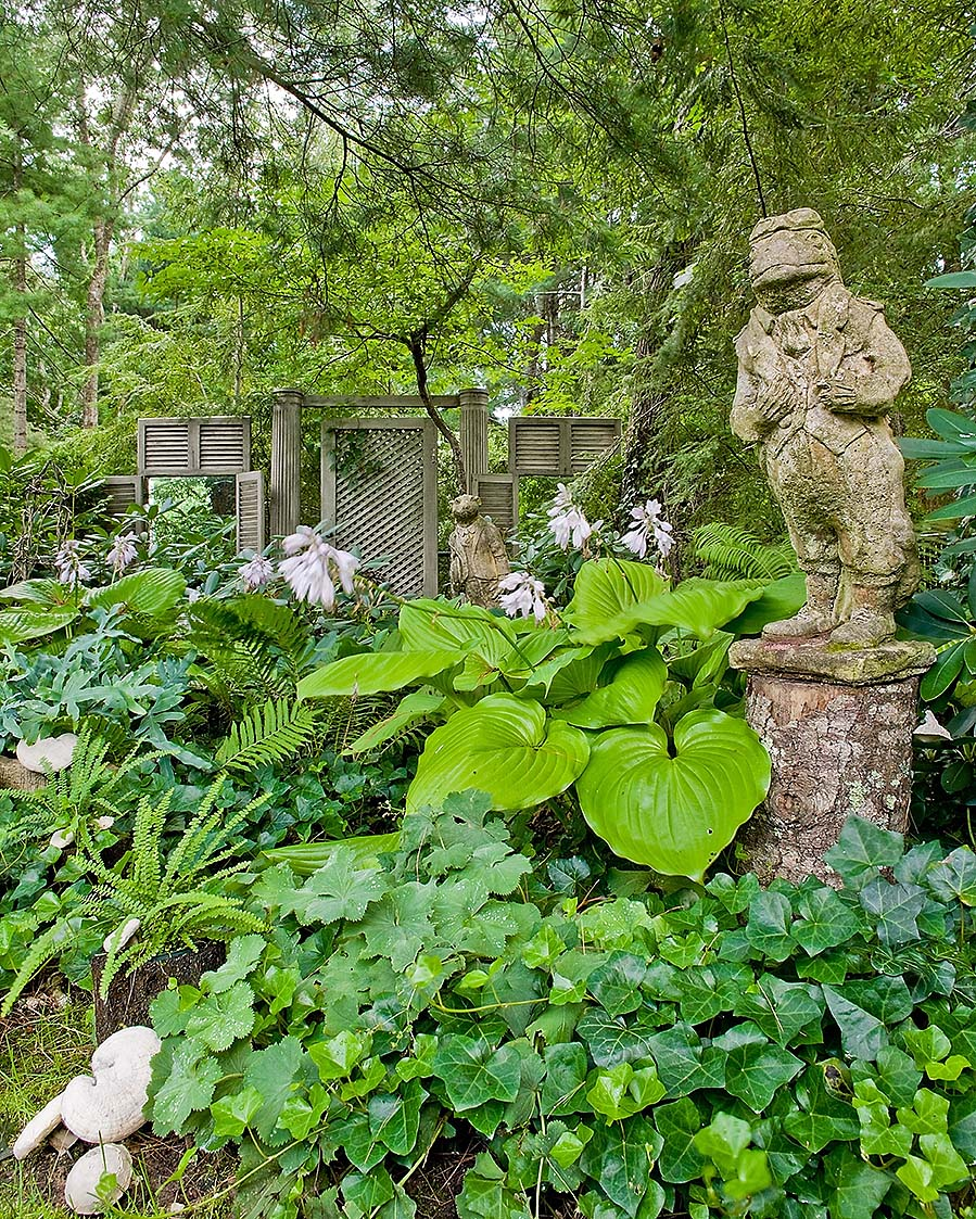 Richard FitzGerald home yard frog statue Michael J Lee photography Cape cod house