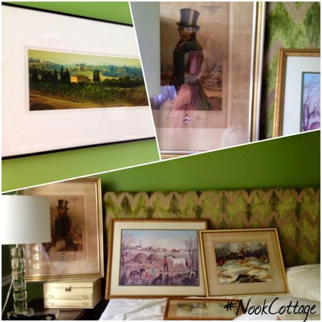 Green bedroom hanging art