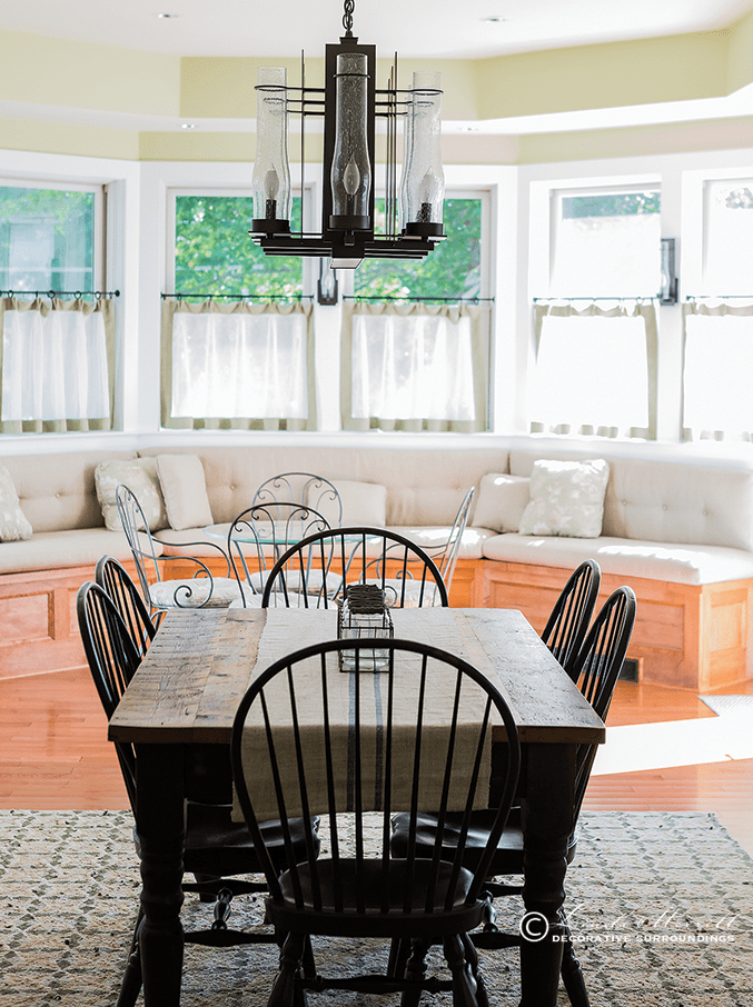 Design by Linda Merrill Decorative Surroundings: New Hampshire farm house project, dining room, Windsor chairs, needlepoint rug, modern chandelier
