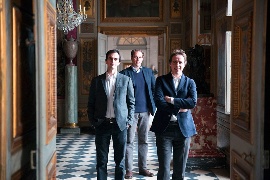 The authors and current stewards of the estate: Ascanio, Jean-Charles and Alexandre de Vogüé are the fifth generation of the Sommier family.