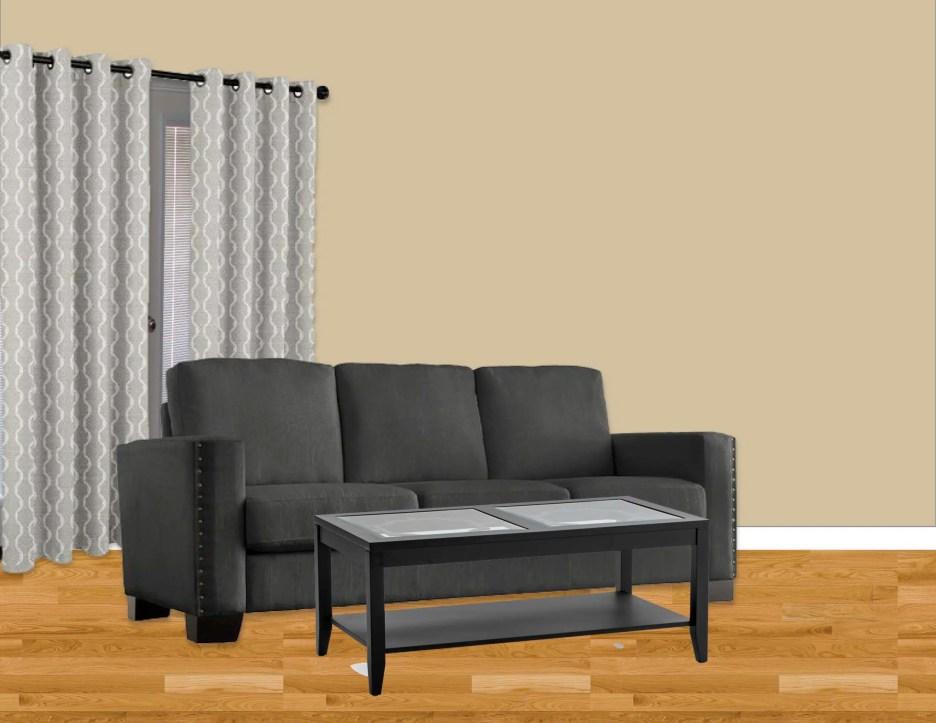 black sofa vignette