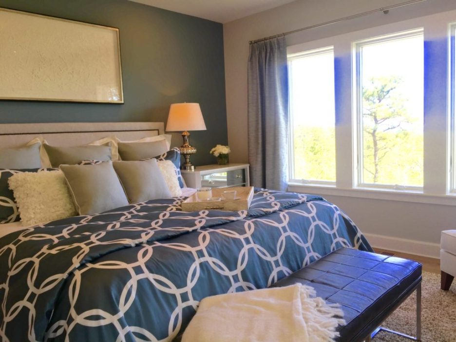 2016 Boston Magazine Design Home at The Pinehills Plymouth MA blue and white bedroom