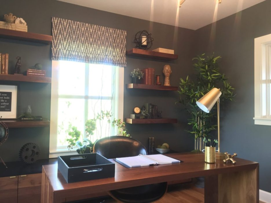 2016 Boston Magazine Design Home at The Pinehills Plymouth MA masculine dark blue office