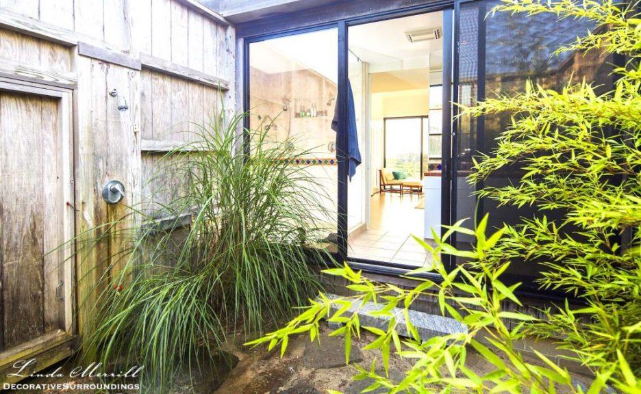 Modern Coastal House outdoor shower in Truro, Massachusetts