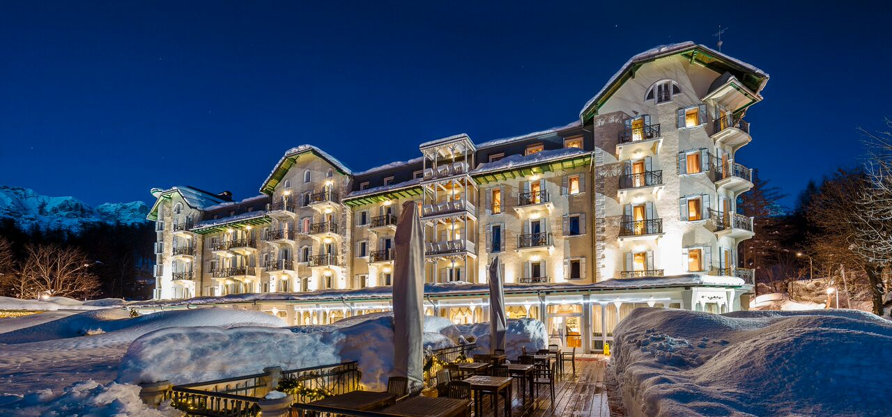 Crystal Resort hotel exterior in snow