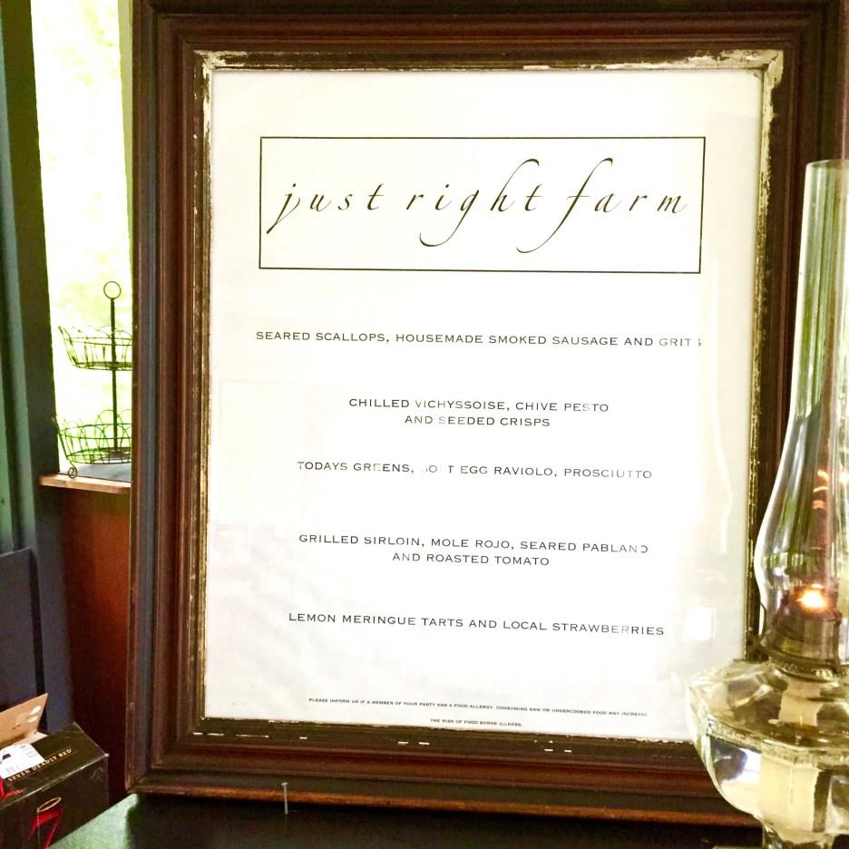Just Right Farm Plympton MA  kallista farm to table dinner menu