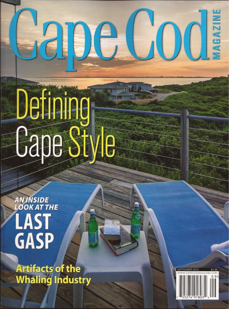 Design by Linda Merrill Decorative Surroundings: Cape Cod Magazine Truro Cover looking at sunset