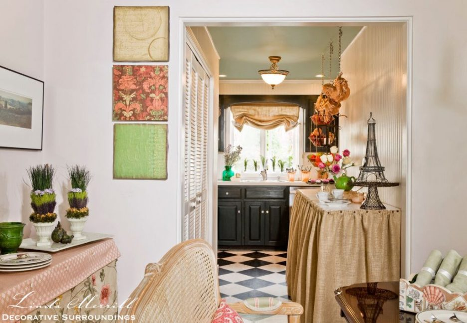Design by Linda Merrill Decorative Surroundings: Design by Linda Merrill Decorative Surroundings: French country kitchen with burlap counter skirt, copper pots, green painted cabinets, black and white checkerboard floors.