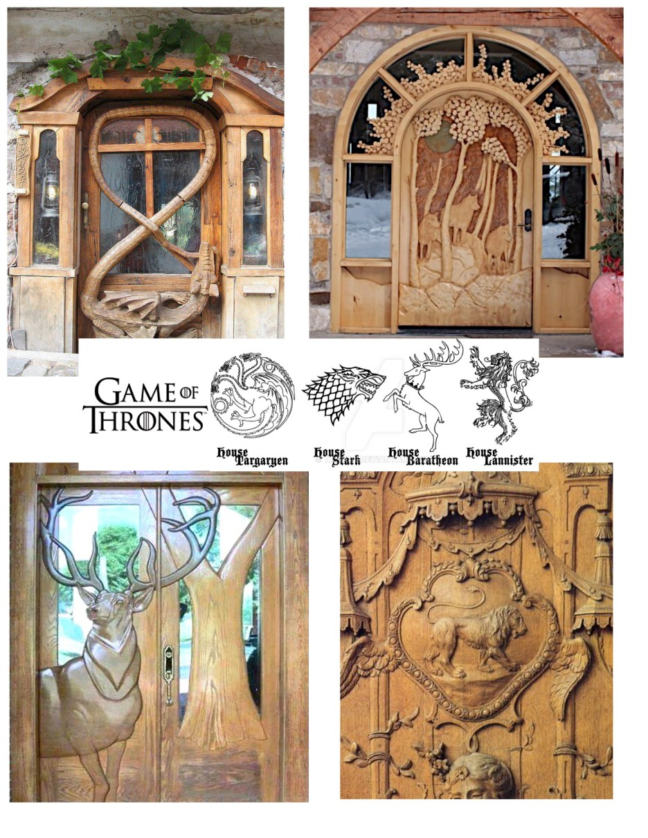 Game of Thrones depicted in wood carved doors
