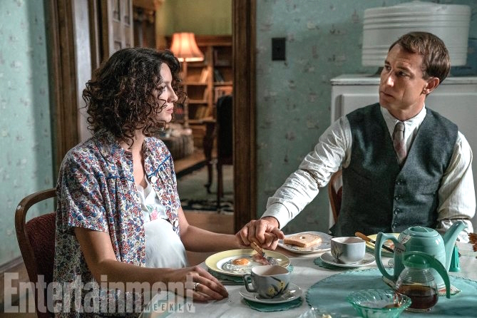 Claire and Frank in kitchen of Outlander Boston Set