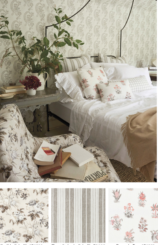 Schumacher fabrics from Vogue Collection florals and soft colors. Bed with beautiful white and floral bedding.