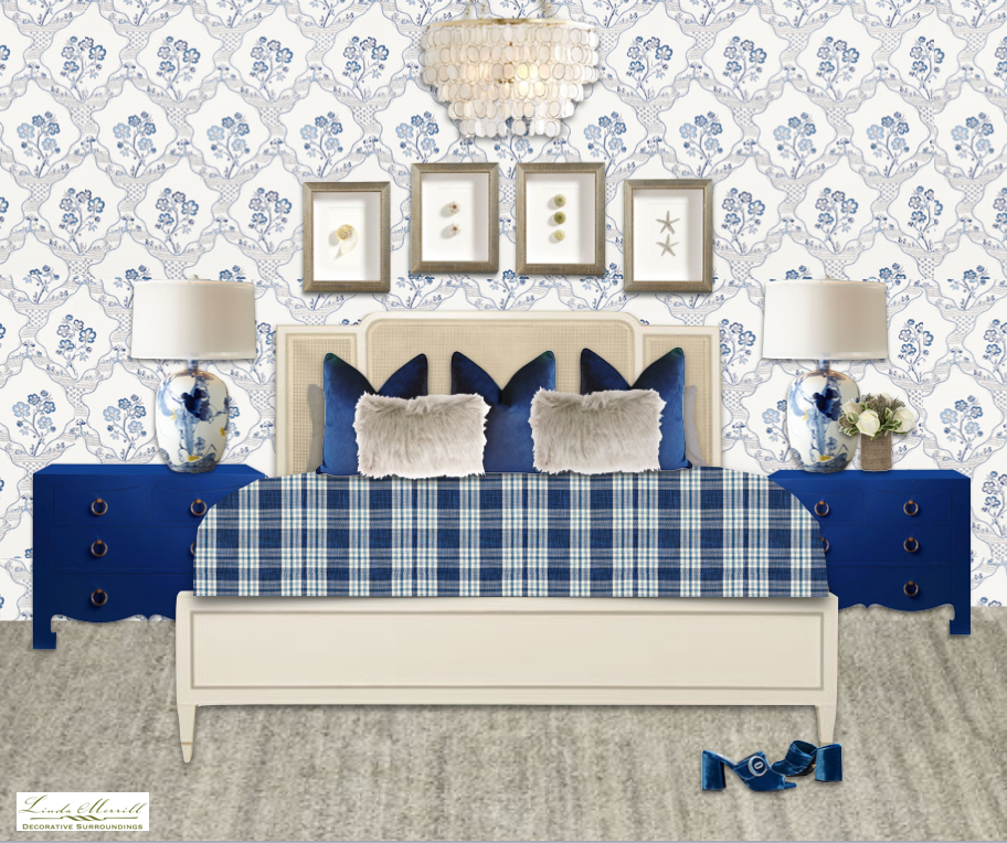 Bedroom with Schumacher blue delft wallpaper and bedding, cream Caracole bed, beige rug, blue night stands, capiz shell chandelier