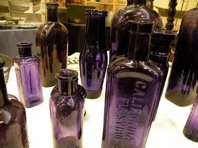 Purple glass bottles vintage manganese