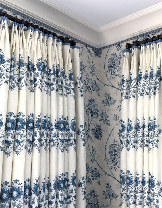 Pattern match Mark Sikes Design Linda Holt photo. Blue and white floral curtains wallpaper