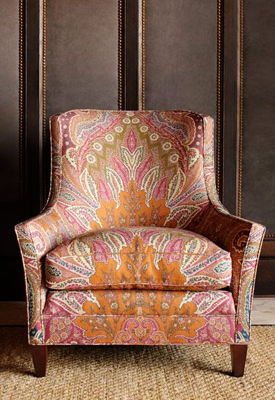 Pattern Match Schumacher CAMBAY PAISLEY PRINT Sandalwood on chair