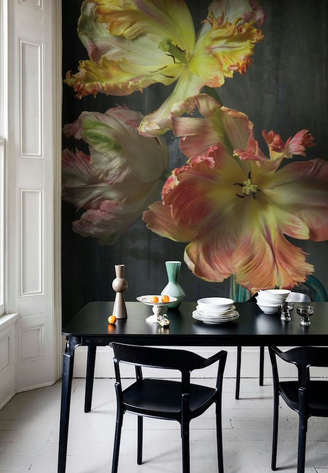 Dutch Master tulips wall mural in dining room